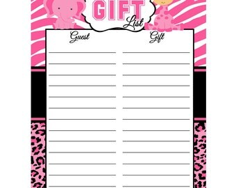 Pink Safari Baby Shower Gift, List Instant Download  - Digital File