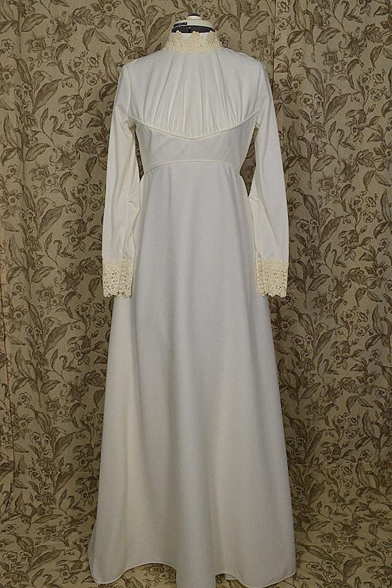 Vintage1970s Ivory Empire Waist Wedding Dress Gown Alfred