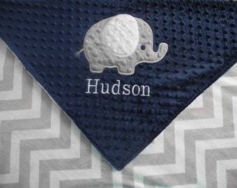 Custom Crib Blanket, Baby Gift, Elephant on Grey Chevron Minky Baby Blanket, Custom Blanket, Made to Order
