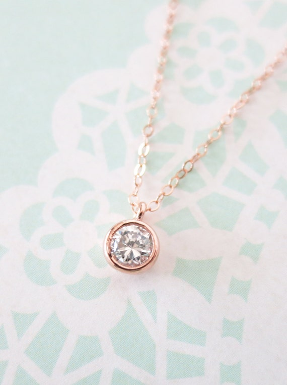 Simple Diamond Drop necklace rose gold filled necklace