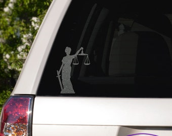 Lady Justice Car Window Decal