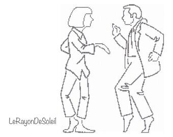 Modern cross stitch pattern Pulp Fiction Mia Wallace Vincent Vega dancing