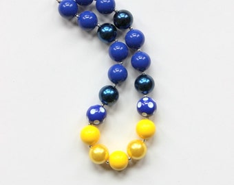 girls chunky bead necklace yellow navy blue chunky bubblegum bead necklace necklace girls necklace girl chunky bead necklace birthday