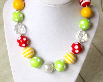 Apple bubblegum chunky necklace. Girls back to school bead necklace. Beaded birthday Wedding flower girl red lime green yellow girl necklace