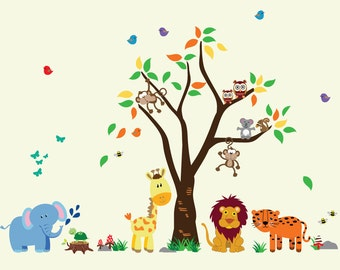 Childrens Jungle Tree WALL DECAL, Reusable Fabric Wall Decal, Girls Tree Decal - N109