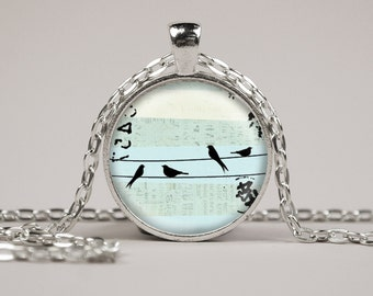Birds on a Wire Mist Blue Pendant Necklace or Keyring Glass Art Print Jewelry Charm Gifts for Her or Him bird sky