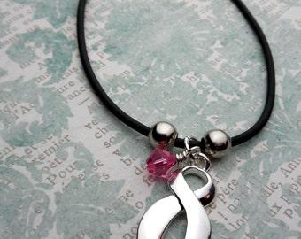 Pink Ribbon Bracelet, Breast Cancer Awareness, Chemo Gift, Fighting Cancer, Cancer Survivor, Save The TaTa's