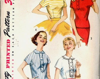 1950s Size 12 Bust 32 Easy Teen Fitted Blouse Overblouse Simplicity 1782 Vintage Sewing Pattern 50s
