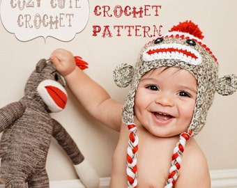 Crochet Hat Pattern - Sock Monkey Hat Pattern - PDF Crochet Pattern - Instant Download