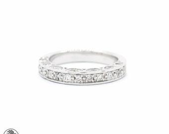 Vintage Style Diamond Ring, Diamond White Gold Band, Anniversary Diamond Band, White Gold Band, Pave Vintage Diamond Band | LDR01934