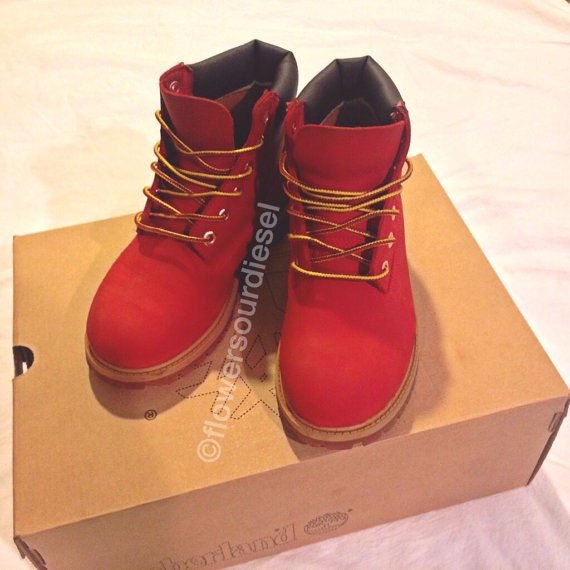 Red Timberland Boots Mens Sizes by FlowerSourDiesel on Etsy