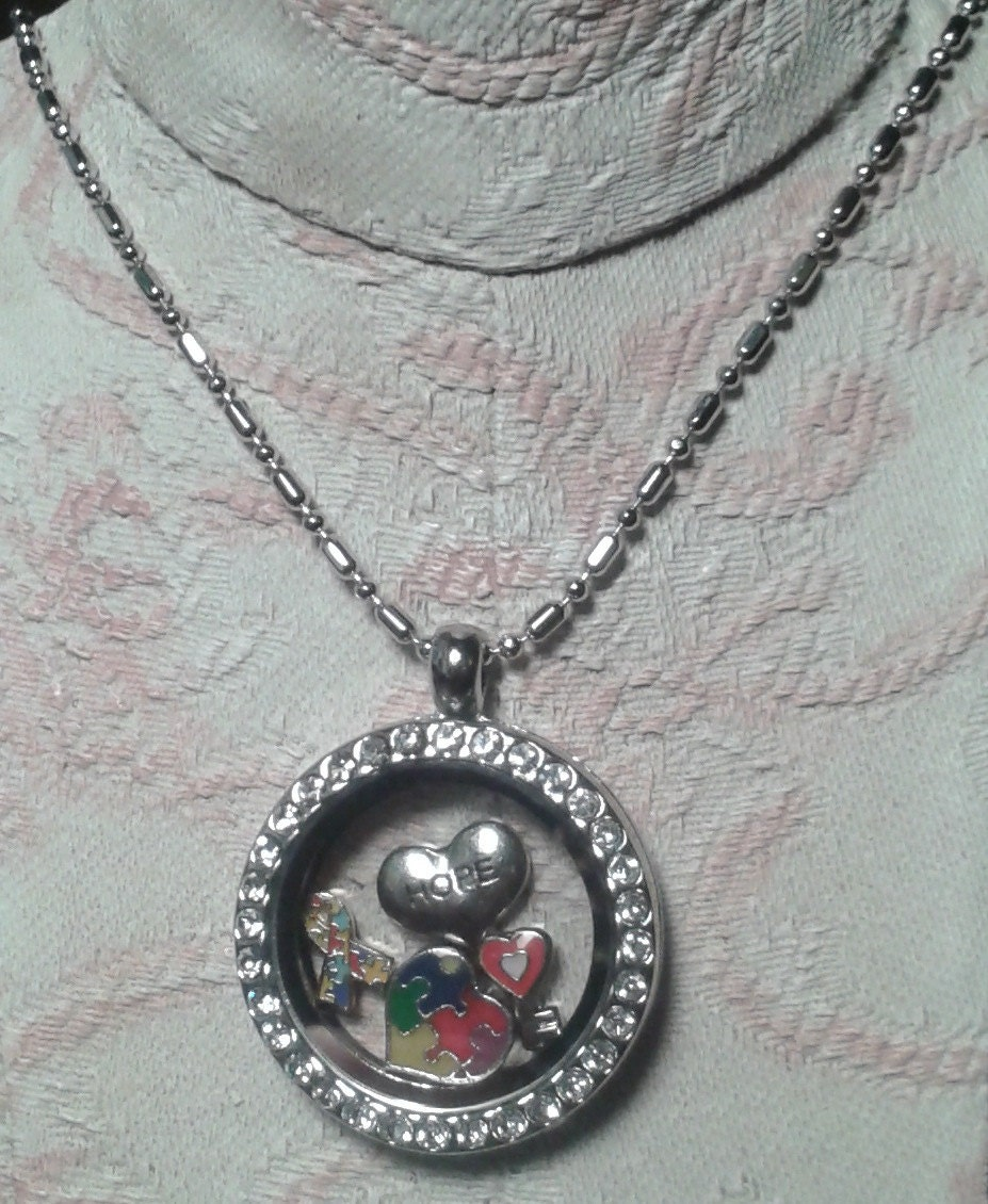 floating charm rhinestone locket necklace supports autism