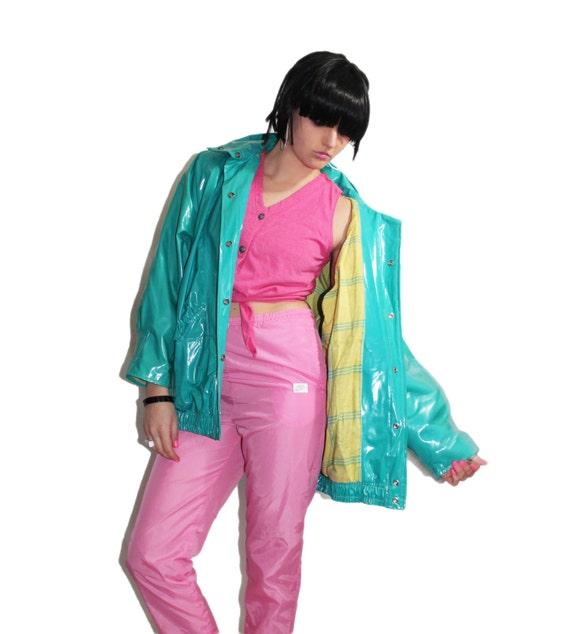 XL Turquoise PVC Rain Jacket Shiny Plastic Bright by KCOVINTAGE
