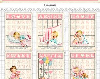 """Digital Vintage Style Baby Girl Bingo Cards/ pink retro baby ephemera cards / 5"""" by 7"""" and 3.5"""" by 5"""" / downloadable / printable"""