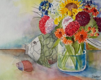 Still Live with Flowers and Fish - original watercolor