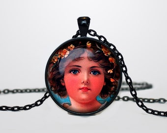 Child Necklace, Victorian Style Child Jewelry  Vintage child pendant