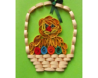 Easter Chick Card, Handmade Easter Card, Quilling Easter Card, Happy Easter Card