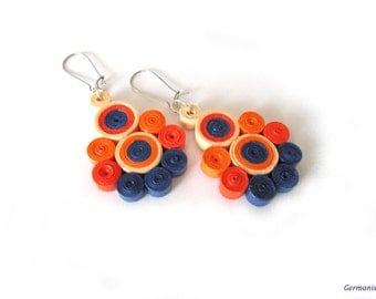 Orange Blue Dangle Quilling Paper Earrings, Summer DIY Paper Quilled Earrings, Paper jewelry