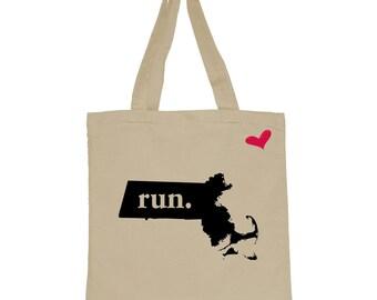 RUN Massachusetts Canvas Tote Bag