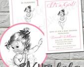Baby Ballerina, Birthday or Baby Shower Invitation, Printable, DIY, Dance Party, Ballet