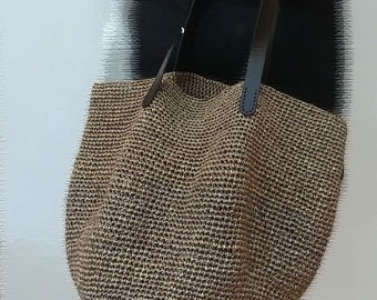 crocheted summer raffia brown tote beach bag,crochet bag with leather handles