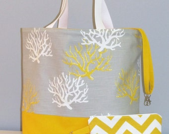 Large Beach Bag / Tote Bag /  with Zipper Pouch / Yellow and Gray Coral