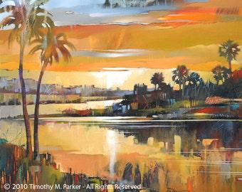 Abstract Landscape Art • Contemporary Landscape and Seascape Painting Reproduction • Seminole Sun • Atmospheric Landscape Art