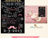 INSTANT DOWNLOAD - First Birthday Chalk Board Printable Sign Prop - Photoshop Template - CB3