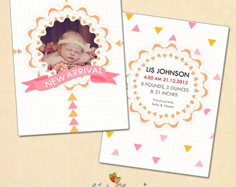 INSTANT DOWNLOAD 5x7 Christmas birth announcement card template - CA321