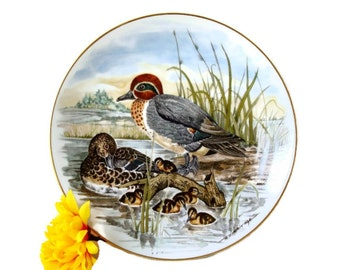 Duck Lover's Ceramic Plate - Game Birds of the South - Green Winged Teal Duck - Southern Living Woodland Decor