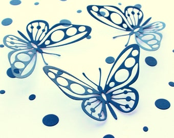 3d Butterfly wall art, Navy Blue Butterflies Wall Decor, 3d paper Butterflies, Nursery wall art, Kids room wall decor, Butterfly