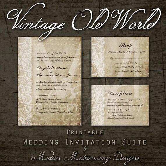 Rustic Diy Wedding Invitations: Vintage Old World DIY Printable Rustic Wedding Invitation