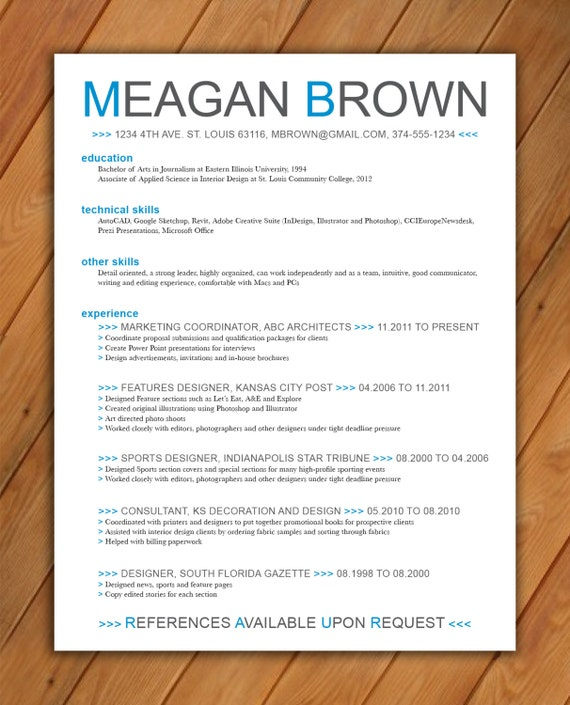 Items similar to Custom resume template  Color arrows on Etsy
