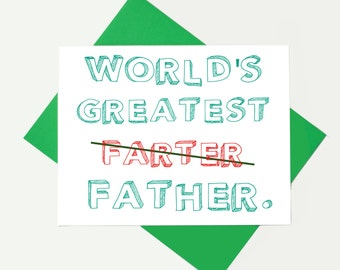 World's Greatest Farter - Funny Father's Day Card - Funny Dad Card - Funny Dad Card - Card For Dad - Birthday Card - Dad Card - Father's Day