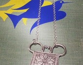 Lotus Flower Soul Lock Necklace Thailand Hill Tribe Amulet Pendant Fine Silver Hmong Asian Xauv
