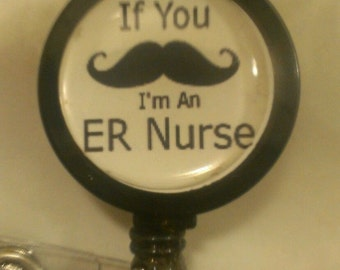 Mustache ER Nurse Retractable Name Badge Holder Reel