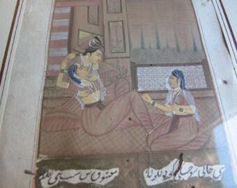 antique Indian erotic original watercolour painting, kama sutra
