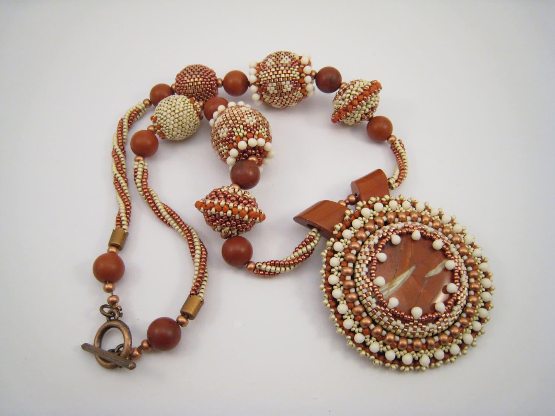 Jasper necklace bead embroidery pendant auburn beads