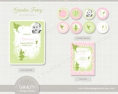Garden Fairy Printable Birthday Party Package in Pinks by tania's design studio