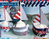 Nautical Cupcake Kit Printable for Nautical Birthday Party in 3 designs. Personalized circles. DIY Printables. Choose from the options.