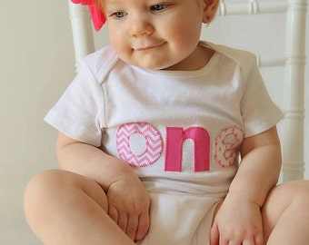 One First Birthday Bodysuit or Shirt - Baby Girl or Toddler Happy Birthday T-shirt -   Great outfit for photos &  First Birthday