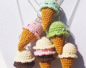 CUSTOM Miniature Crocheted Ice Cream Cone Necklace - Made To Order in Your Favorite Flavor!