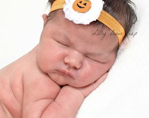 Pumpkin Headband, baby headband, headbands, Halloween headband, newborn girl, baby, baby girl,preemie girl,baby girl clothes,jack o lantern