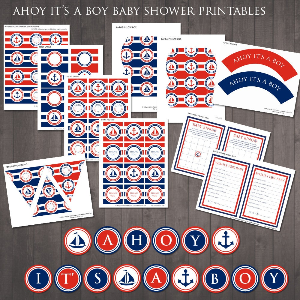 instant download ahoy it 39 s a boy nautical baby shower