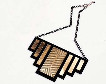 Geometry Black and Gold Acrylic Statement Necklace Square Art Deco Necklace