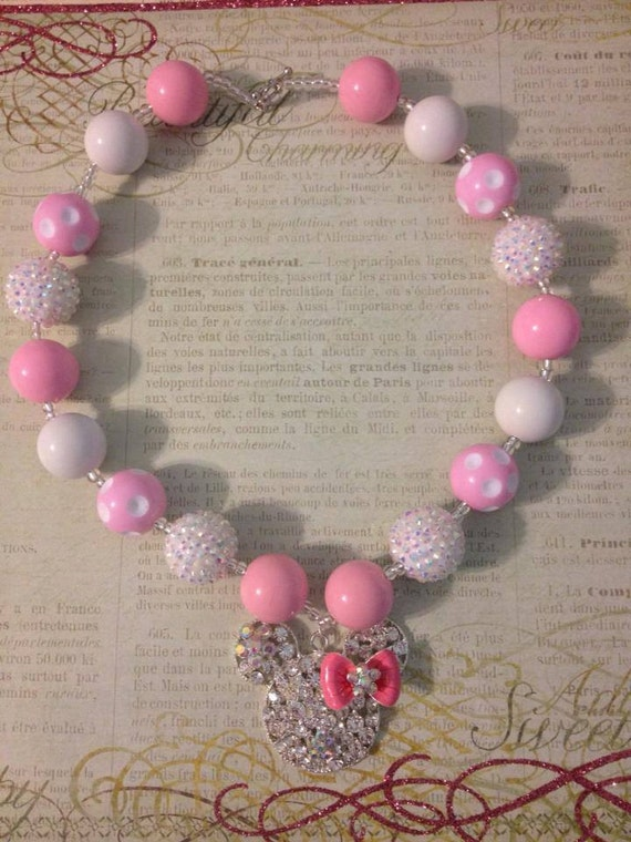 pink minnie mouse chunky bead necklace toddler necklace kids