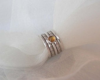 Sterling Silver Stacking Rings with Citrine Gemstone