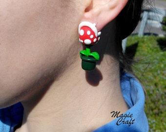 Handmade Super Mario Piranha Plant Earrings - Polymer Clay