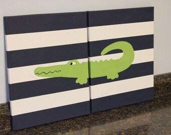alligator painting alligator madras alligator nursery decor, 11x14 alligator painting crocodile nursery wall decor alligator wall art decor