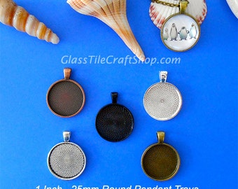 20 Round Pendant Trays - Choose Color: Copper, Bronze, Antique Silver, Silver, Black. (25MRDTMIX)